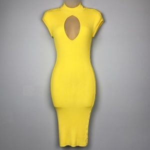 Marciano Yellow Ribbed Stretch Knit Bodycon Dress